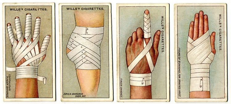 1913: First Aid Cigarette Collector Cards