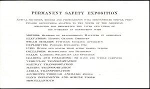 Flyer explaining exhibits for people visiting the American Museum of Safety.