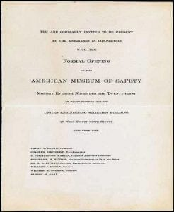Formal Invitation to the opening of the American Museum of Safety.