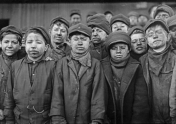 Child workers at a coal mine. 1895