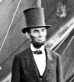Abraham Lincoln in his stovepipe hat.