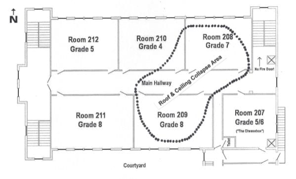 Classroom layout on second floor, North Wing.