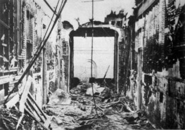 North Wing corridor after fire was out.