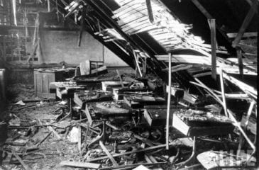 Room 209 with collapsed roof after fire was out.