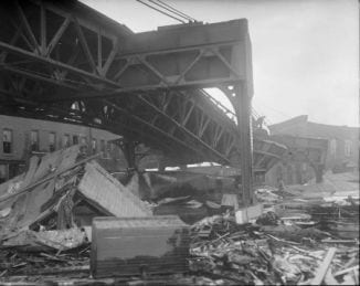 Collapsed elevated railroad track